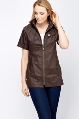 Hooded Short Sleeve Jacket