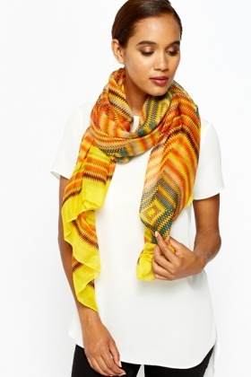 Multicoloured Zig Zag Scarf