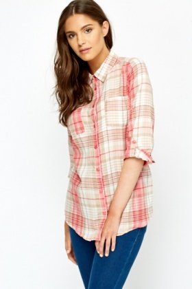 Pink Multi Check Shirt