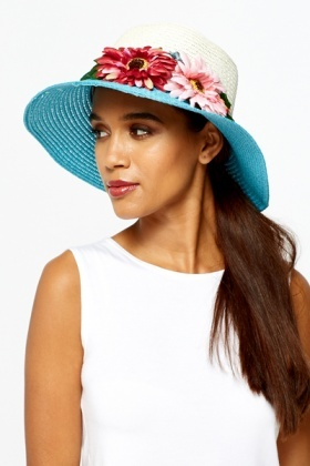 Contrast Rim Floral Straw Hat