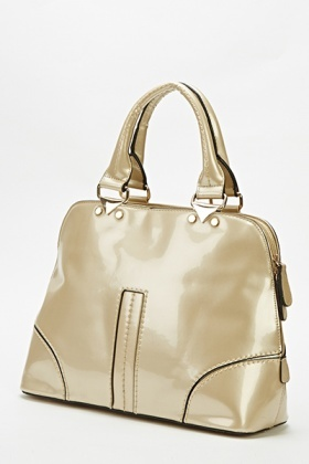 Gold Patent Bowler Bag