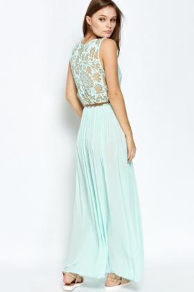 Maxi Jurk Turquoise.Mint Mesh Bodice Maxi Dress Just 5