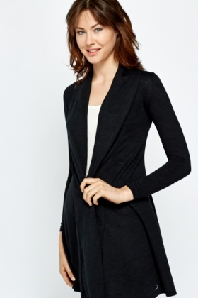 Cotton Blend Open Front Cardigan