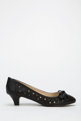 Bow Cut Out Low Heel Shoes