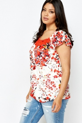 Crochet Neck Floral Top