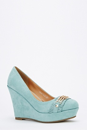 Faux Suede Fringe Buckle Wedge Shoes