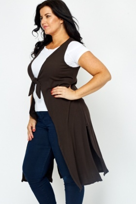 Knot Front Sleeveless Dark Brown Cardigan