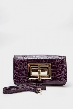 Purple Mock Croc Twist Lock Clutch