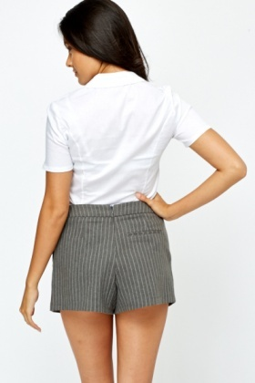 Ruched Button Up Short Sleeve Shirt