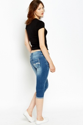 Washed Blue Cropped Leg Jeans