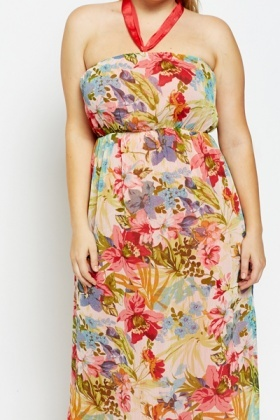 Reversible Bandeau Floral Maxi Dress
