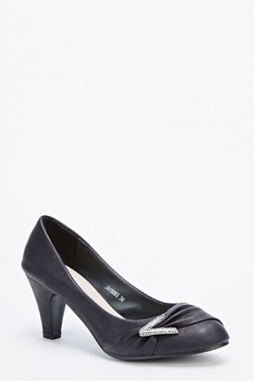 Diamante Twist Front Low Heels