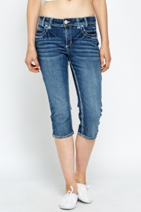 Distressed Cropped Leg Jeans