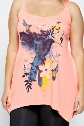Neon Pink Paradise Print Top