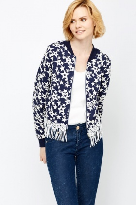 Crochet Fringed Hem Bomber Jacket