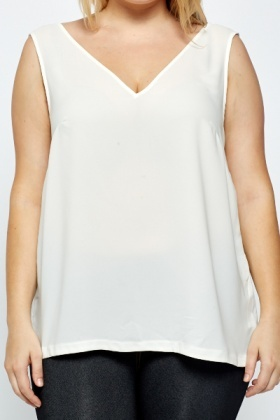 V-Front Off White Top