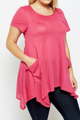 Fuchsia Asymmetric Casual Top