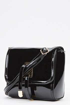 Black PVC Crossbody Bag