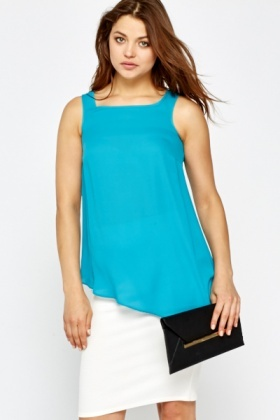 Asymmetric Turquoise Shell Top