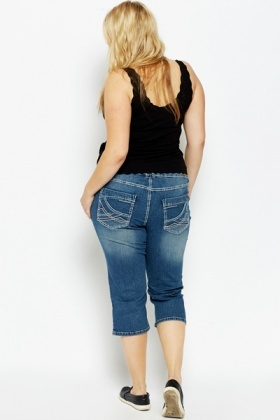 Cropped Denim Blue Jeans