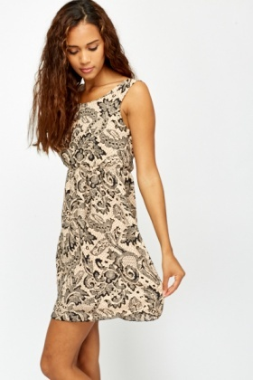 Lace Printed Beige Skater Dress