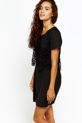 Black Crochet Overlay Shift Dress