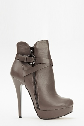 Faux Leather Cris Cros Side Heeled Boots
