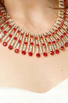 Jewelled Diamante Necklace And Earrings Set