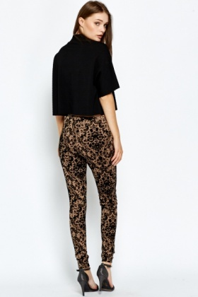 Jacquard Velour Ornate Leggings