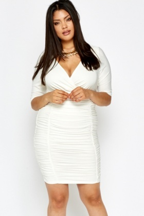 Plunge Neck White Ruched Dress - Just £5