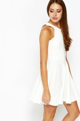 Zip Front White Swing Dress - Just £5