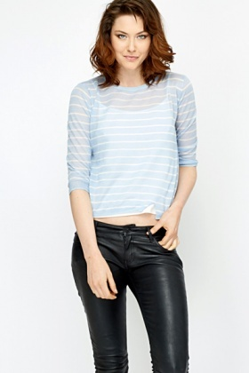 Sky Blue Fine Knit Stripe Top