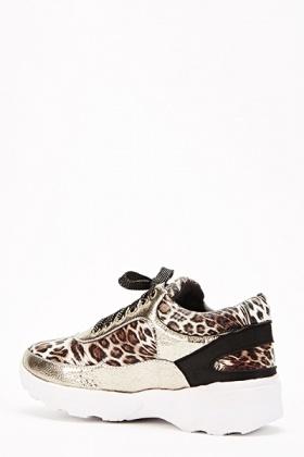 9a8d0babd4885 Metallic Leopard Print Contrast Trainers - Just £5