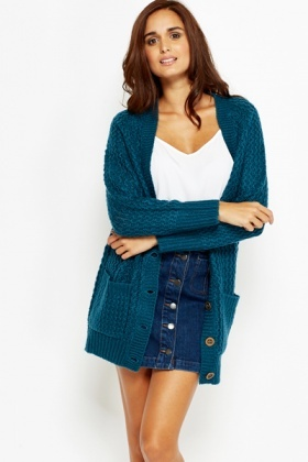 Cable Knit V-Neck Cardigan