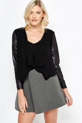 Faux Leather Sleeve Cropped Jacket
