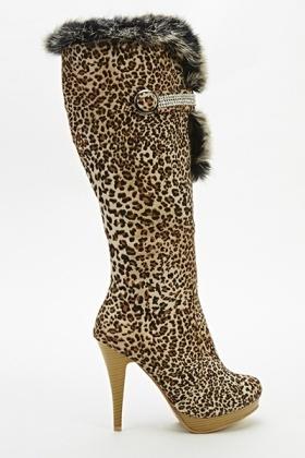 8374c0cc5e1a Leopard Print Faux Fur Trim Boots - Just £5