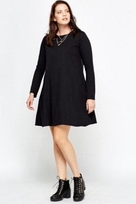 Black Funnel Neck Swing Dress