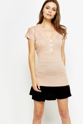 Low V-Neck Knitted Top