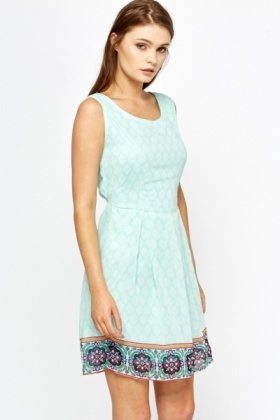 Ornate Border Mint Dress