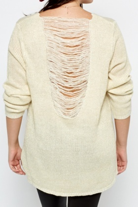 Shredded Back Knit Jumper