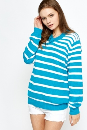 Button Detail V-Neck Jumper
