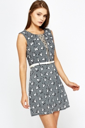 Cap Sleeve Bird Print Dress