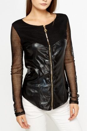 Mesh Sleeve Faux Leather Jacket