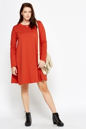 Brick Funnel Neck Swing Dress