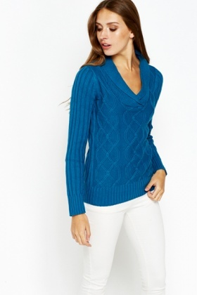 Cowl Neck Knitted Pullover