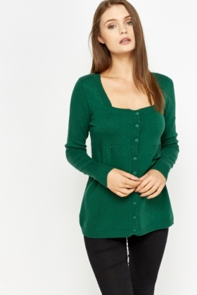 Pleated Front Low Neck Cardigan