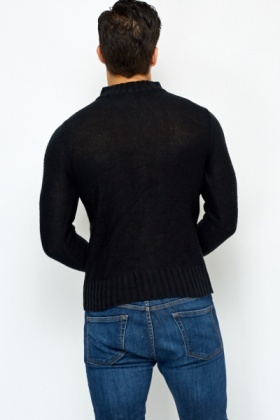 Ribbed Neck Zip Up Jumper