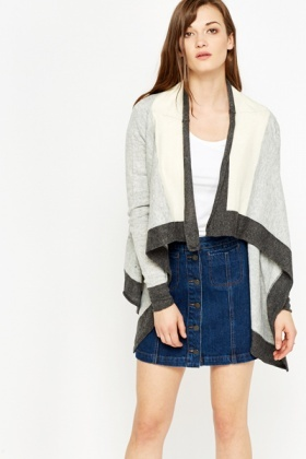 Contrast Dip Side Open Cardigan