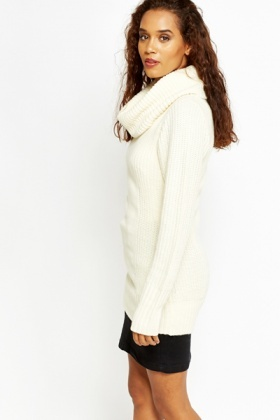 Cream Long Line Cowl Neck Jumper