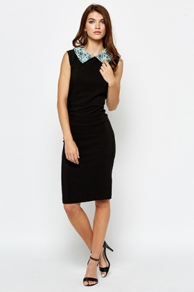 Lace Mint Collar Pencil Dress
